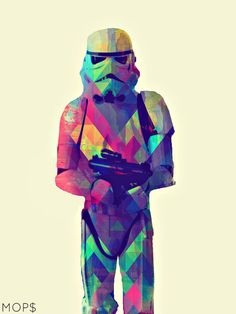 """PROTECT & SERVE (Stormtrooper from STaR WaRS) 8x10"""" Digital Illustration High Gloss Print by MoPS"""