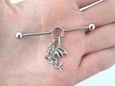 Dragon industrial barbell piercing by StylesBiju on Etsy