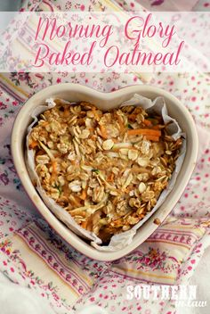 Morning Glory Baked Oatmeal - a delicious healthy breakfast dish that's low fat, gluten free, sugar free and vegan. Filled with grated carrot, apple and zucchini - a combination that sounds odd but tastes INCREDIBLE.