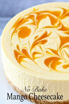 Easy no bake mango cheesecake recipe with smooth creamy texture and delicious mango cheese flavour. What more could you ask for a summer dessert? The post No-Bake Mango Cheesecake appeared first on Win Dessert. Chocolate Cheesecake Recipes, Easy Cheesecake Recipes, Cheesecake Desserts, No Bake Cheesecake, Chocolate Cake, Cheescake Recipe, Cheesecake Bites, Mango Dessert Recipes, Mango Recipes No Bake