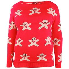 Boohoo Plus Helen Gingerbread Man Xmas Jumper   Boohoo (€23) ❤ liked on Polyvore featuring tops, sweaters, red christmas sweater, flat top, acrylic sweater, christmas sweaters and red top