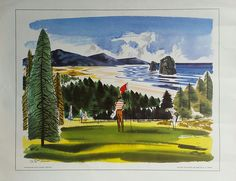 Original+vintage+poster+Neahkahnie+Golf+course+Oregon+painted+for+United+Airlines+-+W+D+SHAW