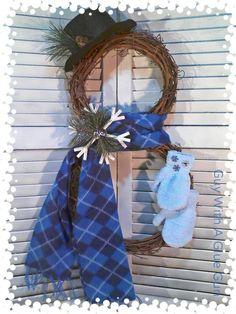 Christmas Wreath.  Winter Wreath.   Grapevine snowman wreath.