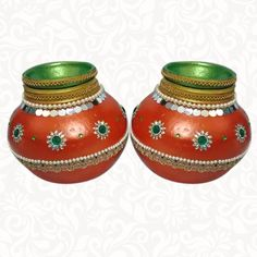 Wedding Pots-Avirendla Kundalu Orange: The Indian ethnic product-Wedding Pots-Avirendla Kundalu Orange is available online in USA at www.indiaethnix.com