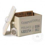 Metall-Kompostbehälter Jersey Creme für die Küche, Burgon & Ball