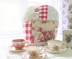 Tea cosy teapot coffee pot warmer shabby chic patchwork flax linen milking cow red white checks duck egg blue cotton ribbon button country