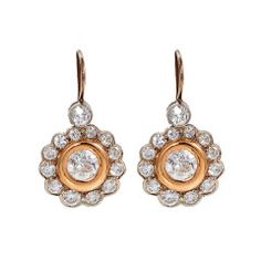 Diamond Yellow and White Gold Flower Earrings