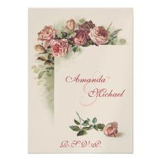 Pink Roses wedding RSVP Custom Invite
