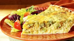 """Cheddar Broccoli Quiche"" - JEP 2/20/14  I've been making this for years.  It is great and the entire family loves it.  You can even make it without a crust.  If you go crust-less spray the pie plate with oil so it will come out easily."