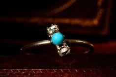 1890s Turquoise & Mine Cut Diamonds Ring
