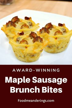 These award-winning Maple Sausage Brunch Bites are perfect for your next breakfast or brunch potluck or Mother's day Brunch! Made with hashbrowns eggs sour cream cheddar cheese onions and maple sausage. they are a full meal in a bite that's simple ma Breakfast Potluck, Mothers Day Breakfast, Mothers Day Brunch, Best Breakfast Recipes, Breakfast Dishes, Breakfast Casserole, Breakfast Muffins, Breakfast Ideas, Potluck Recipes