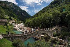 Ponte dei Salti at Lavertezzo in the Verzasca valley, canton Ticino, Switzerland
