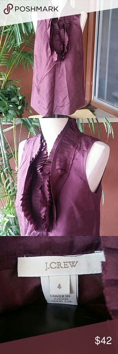 J. CREW Victoria 100% silk ruffle cami Sleeveless rosewood color ruffle blouse  Button top Lightweight 100% silk EUC Gently worn, fabulous condition  Size 4 J. Crew Tops Blouses