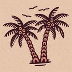 Traditional tattoo flash palms, Vector illustration on grunge texture background