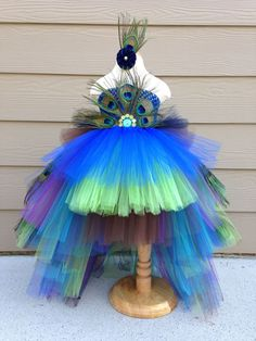 Gorgeous feathered Peacock Tutu Dress Halloween Costume Pageant Dress  Flower Girl Dress made by www.