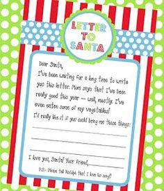 Amanda's Parties TO GO: {FREEBIE} Letter To Santa Printable