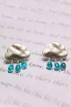 Silver Cloud Blue Fake Diamonds Earrings