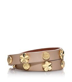 Tory Burch tan gold flower power wrap bracelet $95