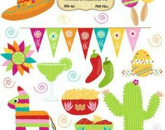 Graphic clip art set availavle through DigiButterfly website, awesome graphics! Taco Party, Fiesta Party, Mexico Party, Mexican Bridal Showers, Baby First Birthday, Llama Birthday, Ideas Para Fiestas, Happy B Day, Mexican Art