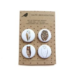 owl pin back button badges set of four by katebroughton on Etsy, £4.00
