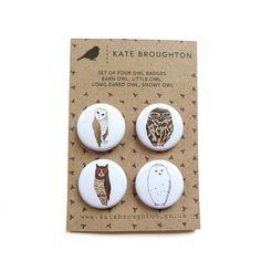 owl badges set of four by katebroughton on Etsy, £4.00