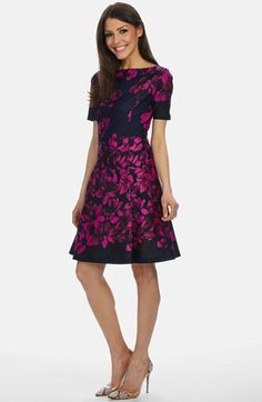 Donna Morgan Boatneck Scuba A-Line Dress available at #Nordstrom