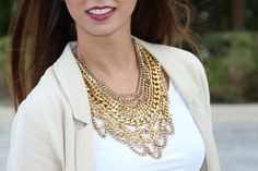 Dark lips and a bold gold necklace from #BaubleBar