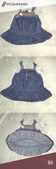 Jean dress Jean dress with colored stripes and buttons on top. Braided straps with bows. Osh Kosh Dresses Casual