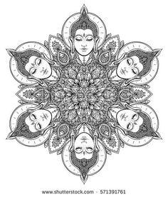 Buddha faces in ornate mandala round pattern. Esoteric vintage vector illustration. Indian, Buddhism, spiritual art. Hippie tattoo, spirituality, Thai god, yoga zen. Gold over black design. Buddha Face, Buddha Tattoos, Art Diary, Buddhism, Mandala, Royalty Free Stock Photos, Spirituality, Illustration, Rangoli Designs