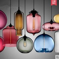 7 color 13 style Goldfish bowl glass pendant lamp simple modern Scandinavian fashion cafe restaurant full range of restaurants - All For Decoration Cheap Pendant Lights, Industrial Pendant Lights, Pendant Lighting, Pendant Chandelier, Light Pendant, Interior Lighting, Home Lighting, Light Fittings, Light Fixtures