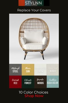 Wicker Patio Furniture Sets, Upscale Furniture, Furniture Styles, Upholstered Furniture, Bedroom Furniture, Beach Patio, Beach Chairs, Folding Chair Covers, Outdoor Cover