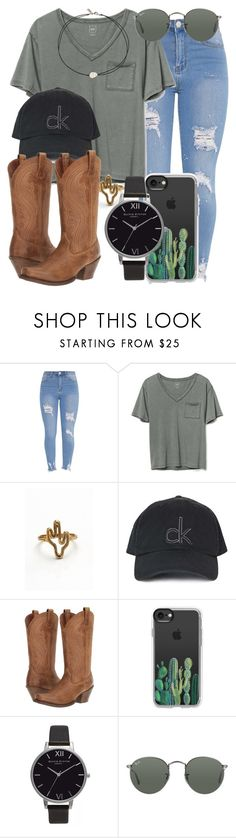 """""""80.7"""" by mallorimae ❤ liked on Polyvore featuring Gap, Topshop, Ariat, Casetify, Olivia Burton, Ray-Ban and Vanessa Mooney"""