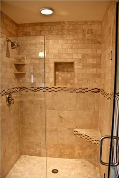 Image result for small bathroom ideas with shower only : tile door - Pezcame.Com