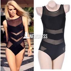 2185e37d92735 Summer Sexy Women Mesh Splice One Piece Beach Swimwear Swimsuit