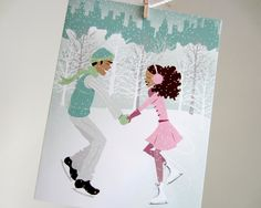 Set of 20 - Ice Skating Holiday Couple Blue Christmas Greeting Card. $18.00, via Etsy. Stuff By Nicole