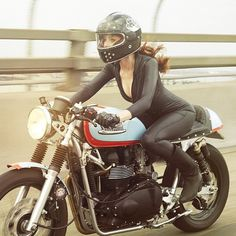 Black. | photo by @buckhornstudio. Bike @ba_moto. Girl @tamararaye. | #caferacer…
