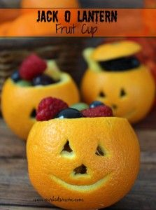 Jack o Lantern Fruit Cups Recipe. All fruit, healthy and perfect for the holidays.