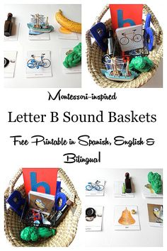 An easy way to teach a toddler or preschooler letter b phonics the montessori style. With free letter B 3 part cards in spanish, english and bilingual. Montessori letter b sound baskets for young children.