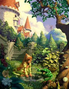 """[image] Title: The Frog King Name: Chris Beatrice Country: United States Software: Painter This is an illustration for the Grimm's fairy tale """"The Frog King or Iron Henry. Brothers Grimm Fairy Tales, Dragons, Fairytale Art, Children's Book Illustration, Book Illustrations, Fantasy Art, Alice, Wonderland, Fairy Tail"""