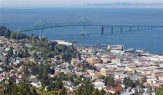 Astoria, Oregon, situated where the Columbia River ends in the Pacific Ocean in the very northwest corner of Oregon. Beautiful beaches and old homes. Also home to the Goonies!