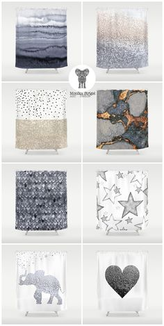 Perfect .... right? Designer shower curtains in neutral colors go with every deco style .... each for $68 @society6 design by Monika Strigel.  Precious gemstones with gold and copper, silver glitter, glitter elephant, mermaid scales in grey tones and stars and dots. Choose your fav!