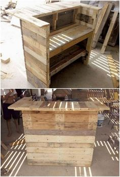 This is quite an inventive creation of the wood pallet that is introducing you with two in one services. Yes, this creation is all about the superb wood pallet bar counter table with the mixture of shelves into it. If you have a plan to start a bar business, than nothing can beat your business to get successful with such an attraction.