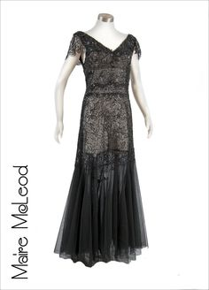 Sequined and beaded black French lace dress with tulle skirt, c. 1930's.