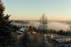 View on foggy Oslo from Frognerseteren. December 2014 at the start of sunset.