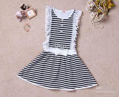 Wholesale Summer Fashion Dress Little Girl Striped Dress,Kids Fresh Wear K0383, Free shipping, $11.48-14.81/Piece | DHgate