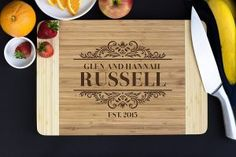 Personalized Cutting Board- Elegant Family Name, Christmas Gift