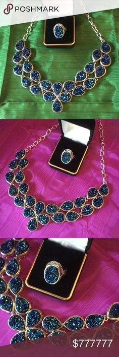 The Blue-Green Ocean Drusy Set This is the largest drusy necklace I have the matching pieces !  A 4 piece set,  Necklace, ring & earrings and bracelet.  Magnificent,  color play like a Peacock. Mega stunning set !   I might have different sizes in the ring just ask. Boutique Jewelry