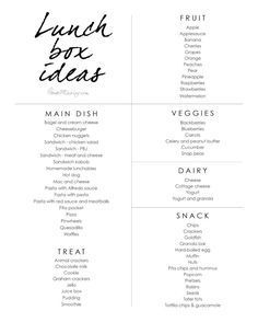 Lunchbox idea list - easy kid lunches to pack for school - Back To School - Gesunde Snacks Easy Lunches For Kids, Kids Lunch For School, Healthy School Lunches, Kid Lunches, Budget Lunches, School Lunch Menu, School Pack, Daycare Menu, Lunch Snacks