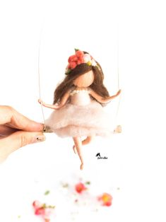 Needle felted Flower Fairy in light pink dress, Hanging Mobile, Nursery Fairy art Felt Fairy, Baby Fairy, First Communion Gifts, Baptism Gifts, Baby Girl Room Decor, Fairy Gifts, Needle Felting Tutorials, Fairy Figurines, Hanging Mobile