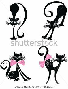 stock vector : Vector black cat.